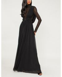 Philosophy Di Lorenzo Serafini - High-neck Lace And Crepe Gown - Lyst
