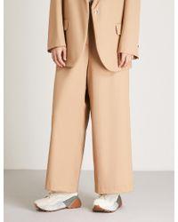 Natasha Zinko - Wide-leg Cropped Wool Trousers - Lyst