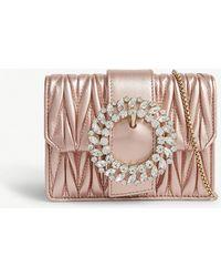 Miu Miu - Miu Metallic Pink Crystal-embellished Matelassé Leather Shoulder Bag - Lyst
