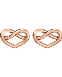 CALVIN KLEIN 205W39NYC - Charming Rose-gold Tone Knotted Heart Earrings - Lyst