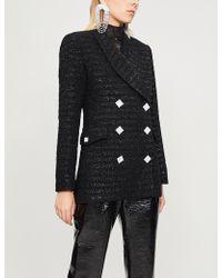 Alessandra Rich - Crystal-embellished Metallic-tweed Jacket - Lyst