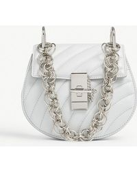 Chloé - Ladies Airy Grey And Silver Drew Bijou Mini Quilted Leather Shoulder Bag - Lyst