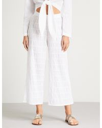 Prism - Athens Wide-leg Cropped Stretch-cotton Trousers - Lyst