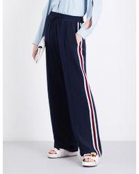 SERENA BUTE LONDON - Side-stripe Wide-leg Silk-crepe Jogging Bottoms - Lyst