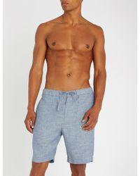 Frescobol Carioca - Drawstring Tailored Linen And Cotton-blend Shorts - Lyst