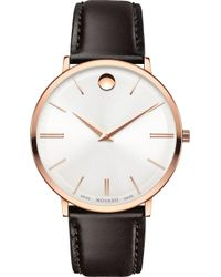 Movado - 607089 Ultra Slim Rose-gold Pvd Stainless Steel And Leather Watch - Lyst