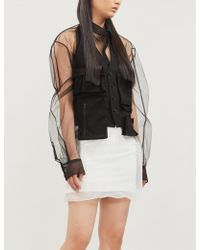 Yang Li Organza-overlay Denim Jacket - Black