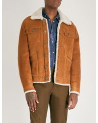 DSquared² - Textured Shearling-trimmed Leather Jacket - Lyst