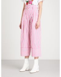 Mo&co. - Striped Paper Bag-waist Wide-leg Cotton Trousers - Lyst