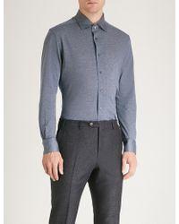 Corneliani - Textured Regular-fit Cotton-piqué Shirt - Lyst