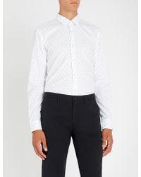 BOSS - Geometric-pattern Slim-fit Cotton Shirt - Lyst