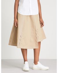 5cm - Lace-up Cotton Midi Skirt - Lyst