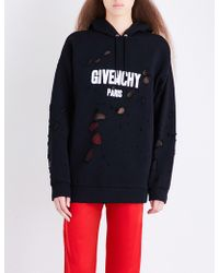 Givenchy - Distressed Logo-print Cotton-jersey Hoody - Lyst