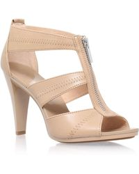 495eafb40d4 Michael Michael Kors Berkley Leather Platform Sandals in Natural - Lyst