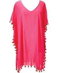 San Diego Hat Company - V-neck Cotton Tunic With Tassels Bst1710 - Lyst