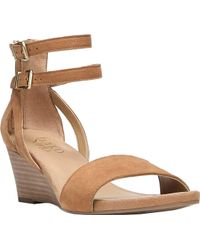 6bb8930af552 Lyst - Franco Sarto Dade Women Open Toe Leather Ivory Wedge Sandal ...