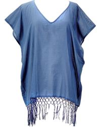 San Diego Hat Company - V-neck Cotton Tunic With Fringe Hem Bst1705 - Lyst