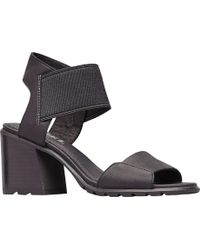54c80214b365 Lyst - Tory Burch Huarache Sandals Nadia Mid Heel in Brown