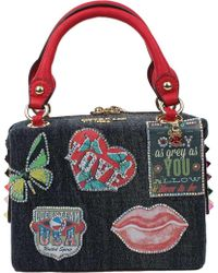 Nicole Lee - Thea Denim Patch Mini Handbag - Lyst