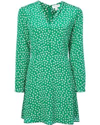 Harley Viera-Newton - Green And White Long Sleeve Floral Mini Dress - Lyst