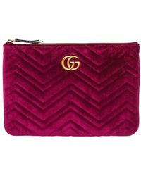 Gucci - Purple Gg Marmont Velvet Zip Pouch Bag - Lyst