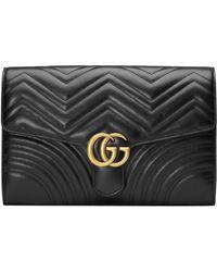 Gucci - Black Marmont Clutch Bag - Lyst