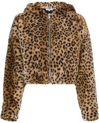 RE/DONE - Brown Hood Ears Faux Leopard Jacket - Lyst