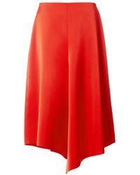 Tibi - Red Bonded Satin High Waisted Draped Skirt - Lyst