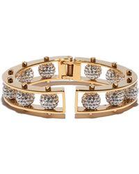 Lele Sadoughi - Gold Crystal Hinged Slider Bracelet - Lyst
