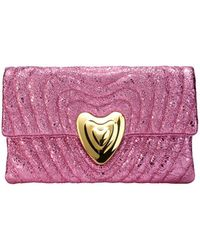 ESCADA - Metallic Leather Heart Clutch Bag - Lyst