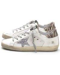 e661d36561b0 Golden Goose Deluxe Brand - Superstar Sneakers In White Canvas silver  Glitter - Lyst