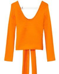 Tibi - Tech Poly Ribbed Decollete Wrap Sweater - Lyst
