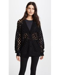 Alexander Wang - Oversized Cardigan With Intarsia Fishnet - Lyst
