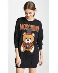 ffa64a3ee Moschino - Top Hat Bear Sweatshirt Dress - Lyst