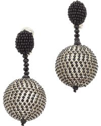 Oscar de la Renta | Beaded Drop Clip On Earrings | Lyst