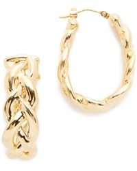 Soave Oro - Shiny Braided Hoop Earrings - Lyst