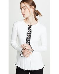 ADEAM - Ribbed Lace Up Henley Tee - Lyst