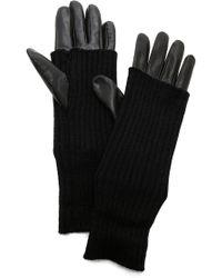 Carolina Amato - Knit & Leather Texting Gloves - Lyst