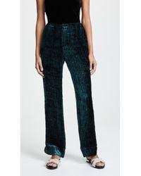 F.R.S For Restless Sleepers - Velvet Stripe Wide Leg Trousers - Lyst
