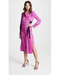 Yigal Azrouël - Stripe Silk Shirtdress - Lyst