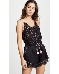 Morgan Lane - Emma Lace And Charmeuse Playsuit - Lyst