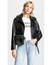 ADEAM - Moto Jacket With Removable Shearling Collar And Belt - Lyst
