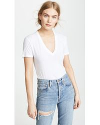b560302b6ee Monrow Studded V Neck Tee in White - Lyst