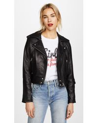 Blank NYC - Cropped Classic Leather Moto Jacket - Lyst