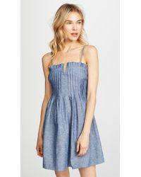 Madewell - Chambray Pintuck Ruffle Dress - Lyst