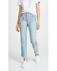 AO.LA by alice + olivia - Amazing Embroidered High Rise Jeans - Lyst