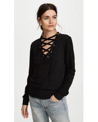 L'Agence - Josilyn Lace Up Sweatshirt - Lyst