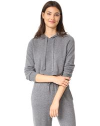 MILLY - Cashmere Cropped Hoodie - Lyst