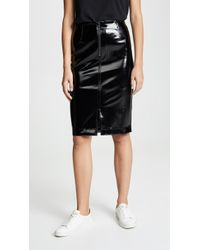 David Lerner - Zip Front Faux Leather Pencil Skirt - Lyst