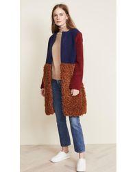 Endless Rose - Fuzzy Colorblock Coat - Lyst